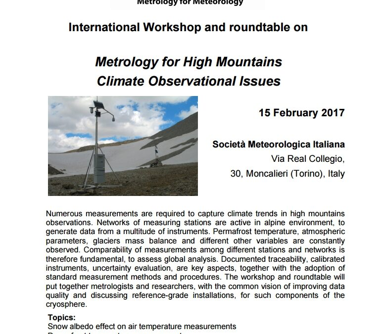 International Workshop and roundtable on  Metrology for High Mountains Climate Observational Issues
